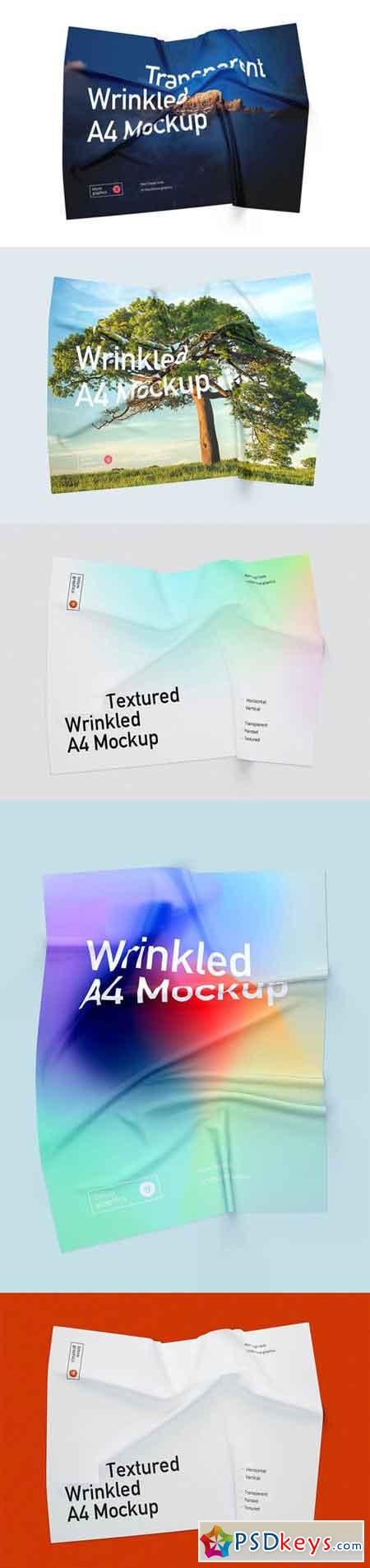 Wrinkled A4 Mockup in PSD