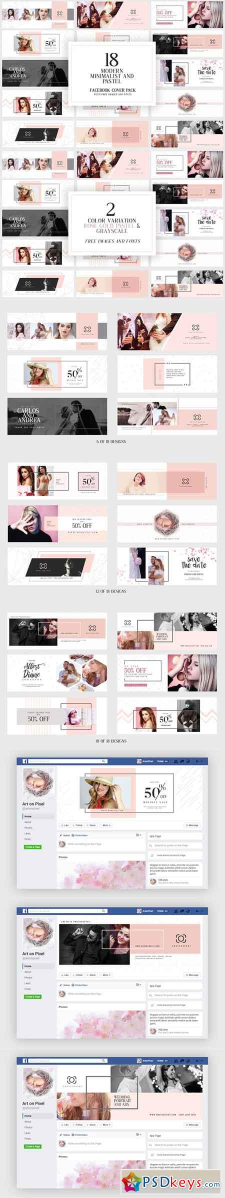 Modern Pastel Facebook Cover Pack 3022591