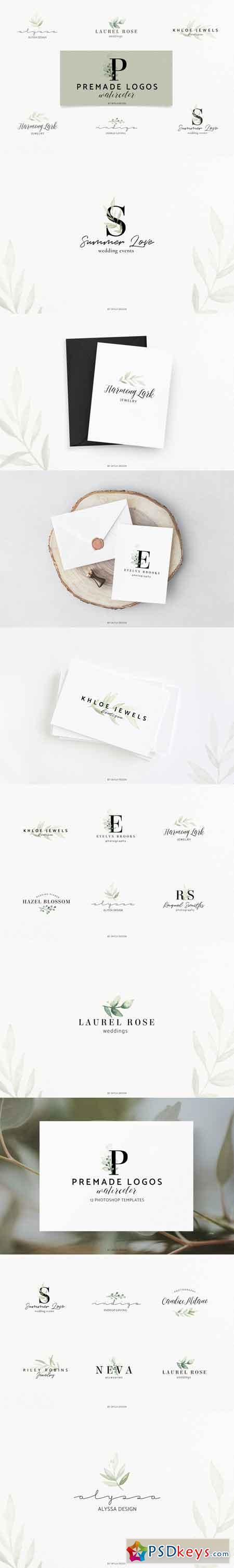 Premade Logos watercolor greenery