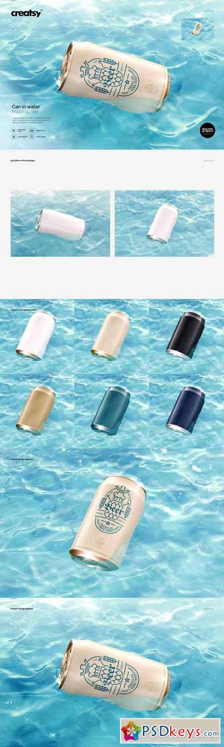 Can in Water Mockup Set 2960191