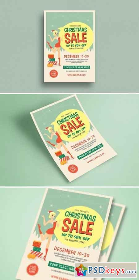 Retro Christmas Sale Event Flyer 3070424