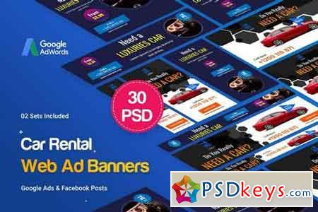 Car Rental Banners Ad - 30 PSD [02 Sets]