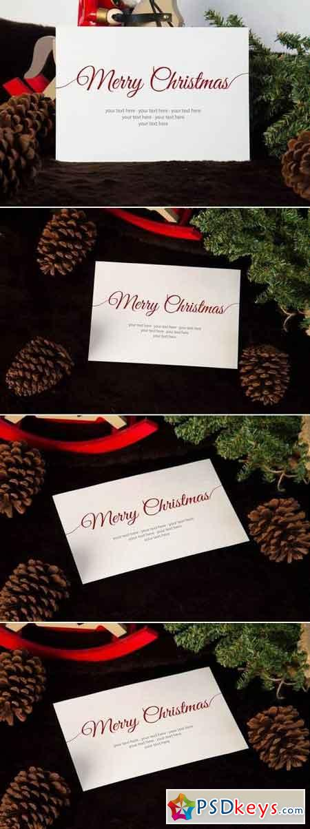 Brown Christmas Invitation Mock Up