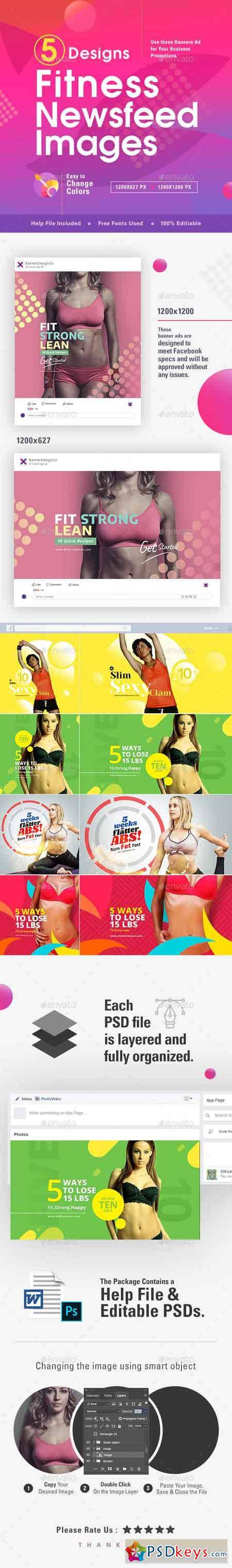 Fitness Social Media Banners - 10 Designs 22557843