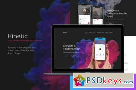 Kinetic - App Landing Page PSD One-page Template