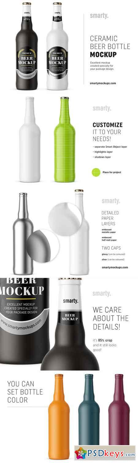 Ceramic beer bottle mockup 2975541