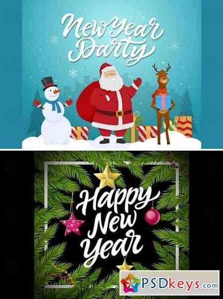 Happy New Year - vector realistic illustration Pack