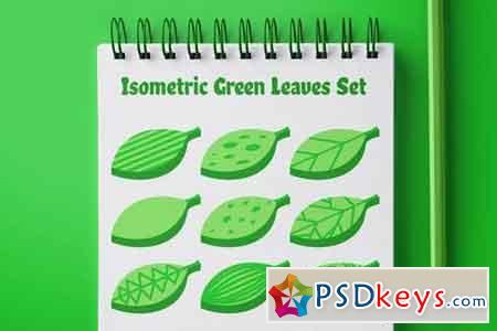 Isometric Green Leaves Set 154218