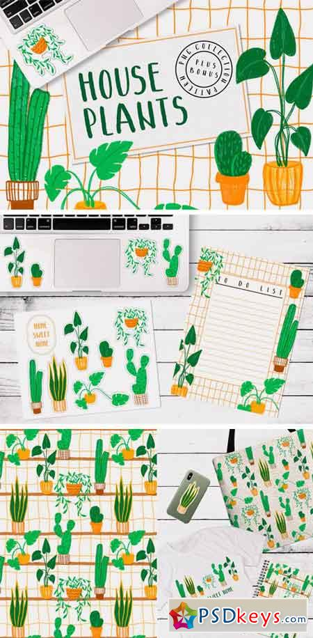 HOUSEPLANTS – PNG & Patterns Pack 2916669