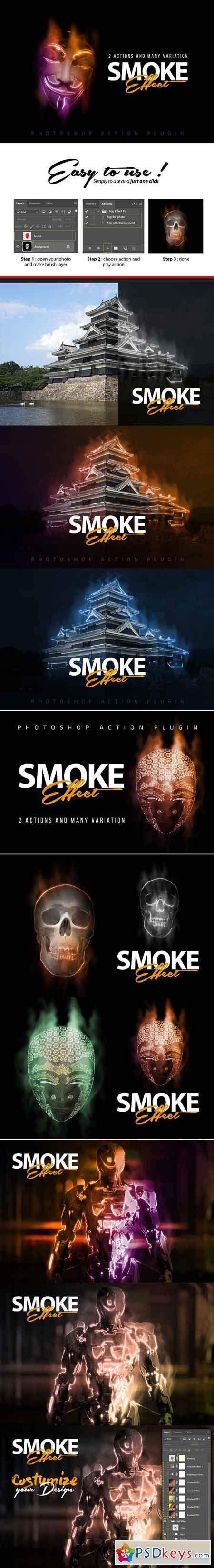 Smoke Effect Photoshop Action 2897739