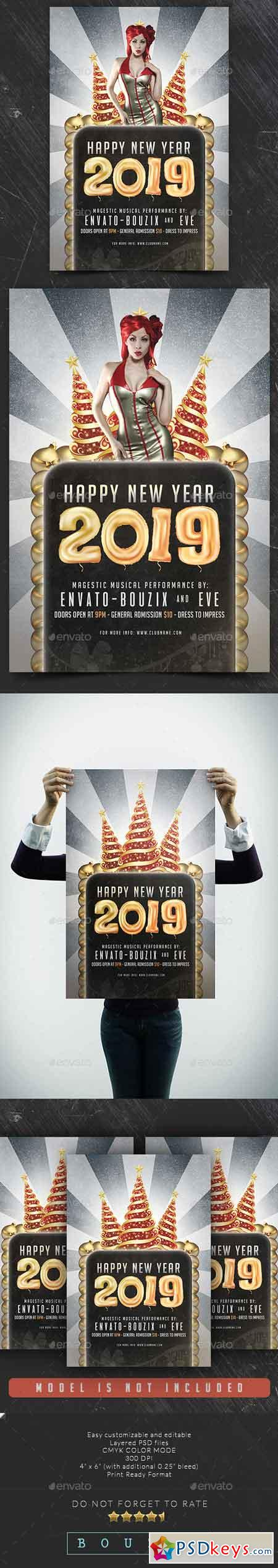Happy New Year 2019 Flyer 22734077