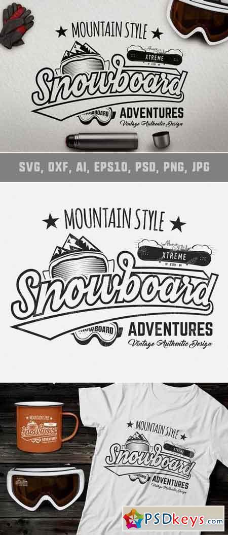 Vintage Snowboarding Tee Design Winter Logo