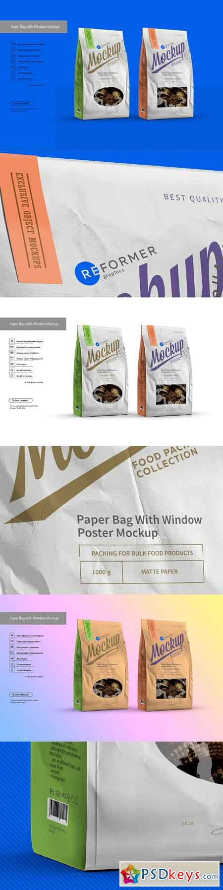 White Paper Bag with Window Mockup 3086233