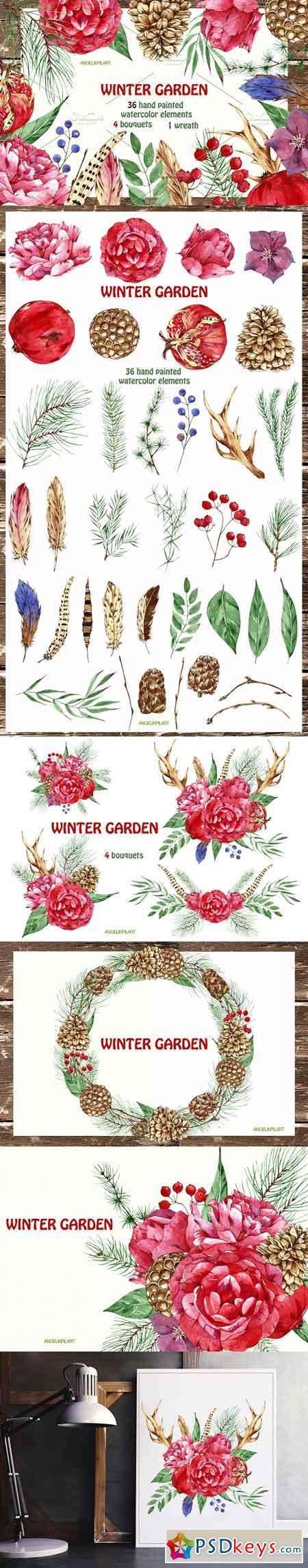 Watercolor set winter garden 2149826