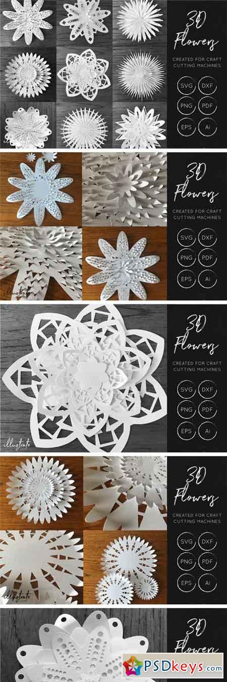 3D Flower SVG Cut Files 44342