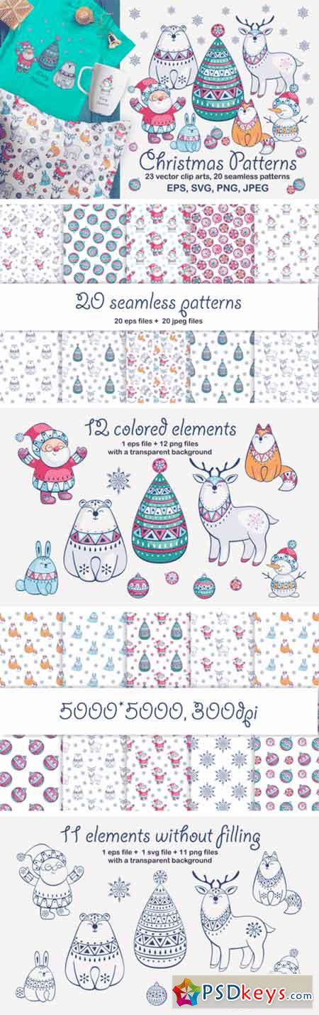 Christmas Patterns and Clip Arts 604652