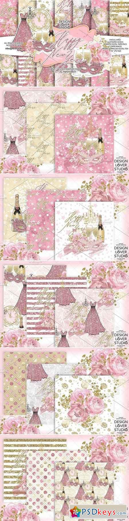 Happy New Year digital paper pack 3100942