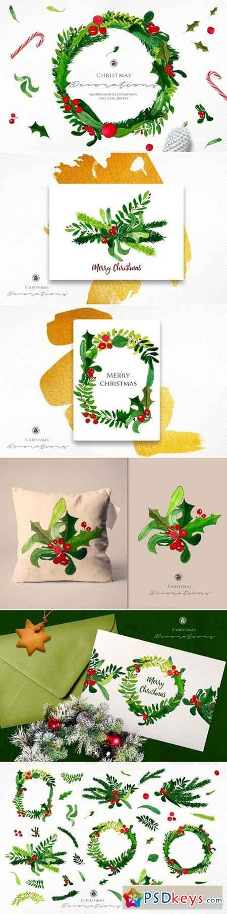 Watercolor Christmas Decorations 3103764