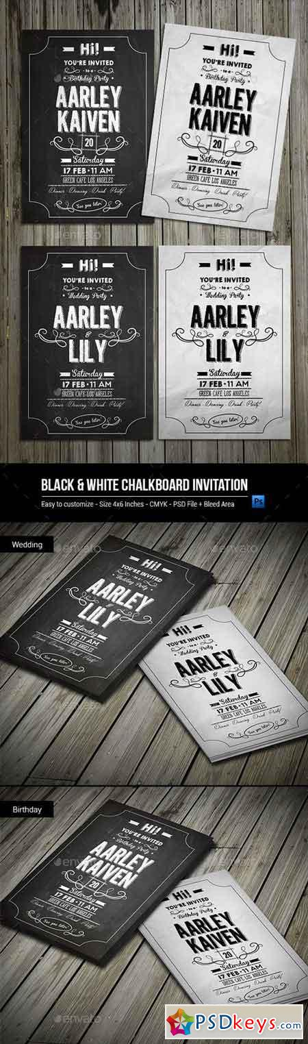 Black & White Chalkboard Invitation 9908378