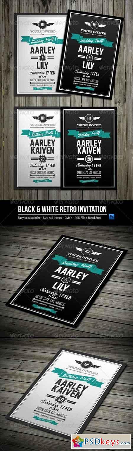 Black & White Retro Invitation 8172012