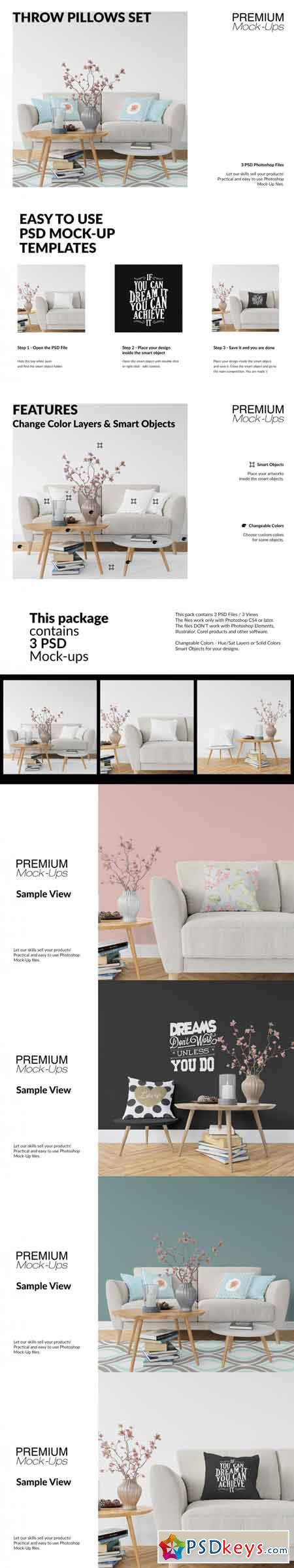 Throw Pillows Mockup Set 3489772