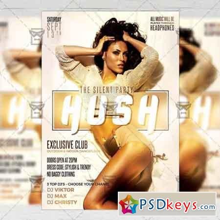 Hush Party Flyer - Club A5 Template