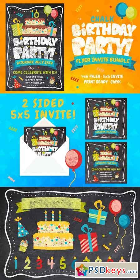 Chalk Birthday Party Flyer Bundle 3135571