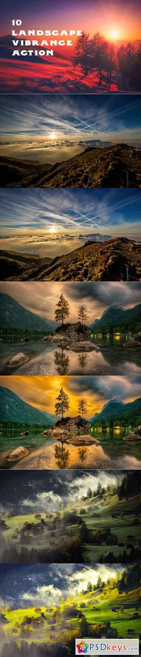 10 vibrant landscape effect photoshop action 3502696