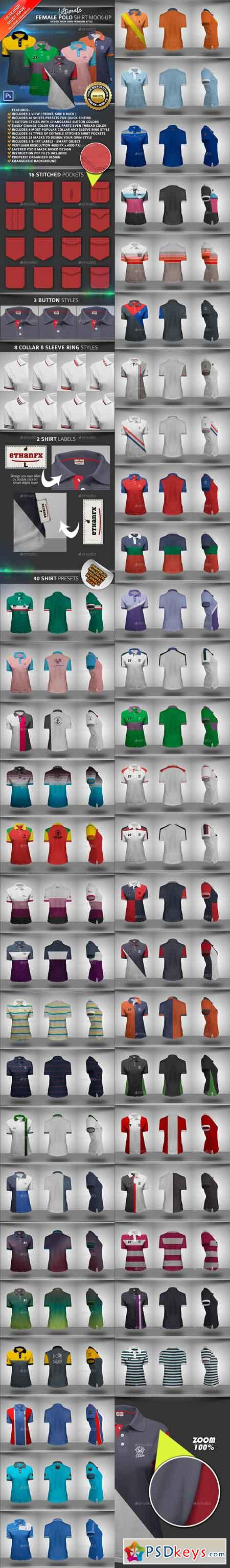 Ultimate Female Polo Shirt Mock-up 22753547