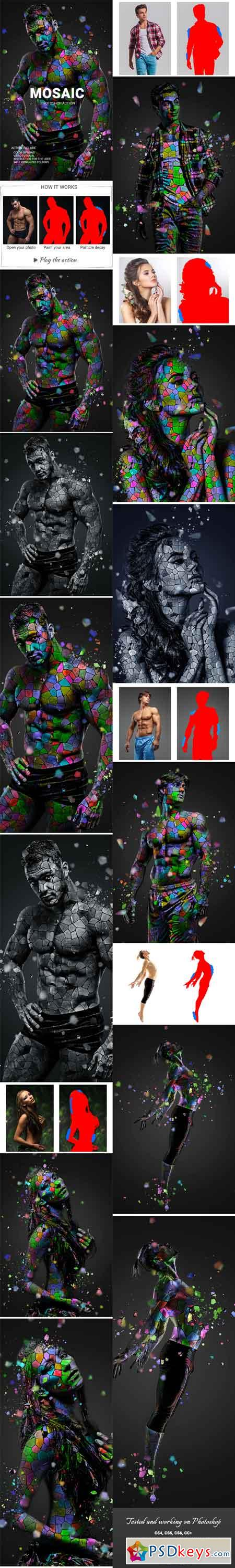 Mosaic Photoshop Action 22744500