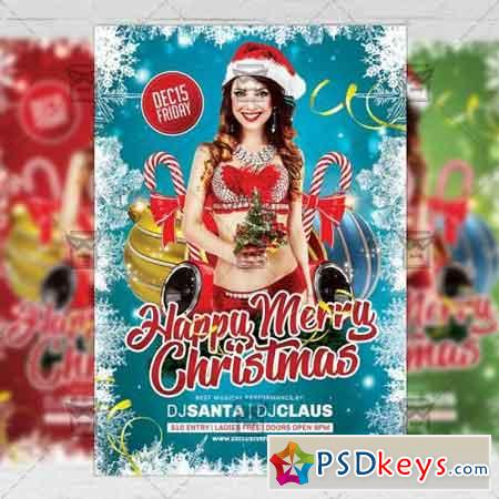 Happy Merry Christmas - Seasonal A5 Flyer Template