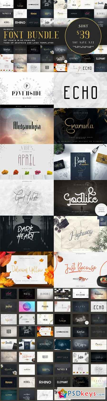 Massive Font Bundle - 197 fonts 3037602