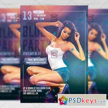 Blue Party Flyer - Club A5 Template