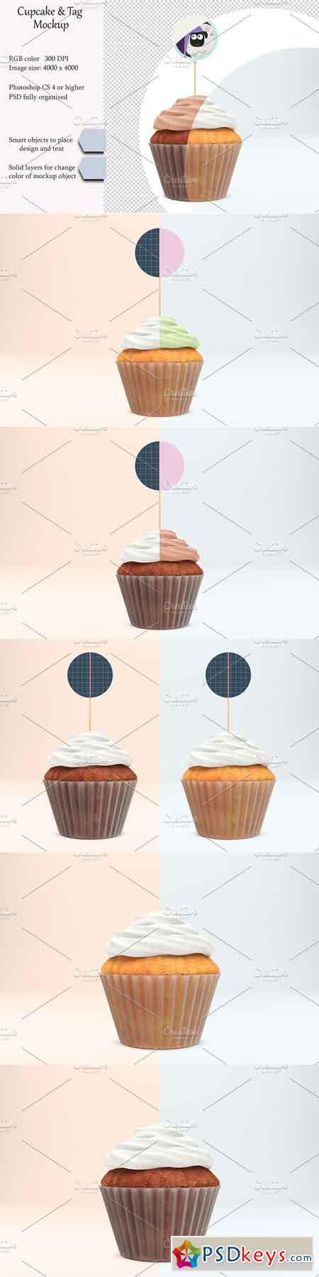 Cupcake tag mockup PSD mockup 3112357