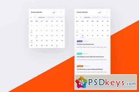 Events Calendar UI PSD Widget