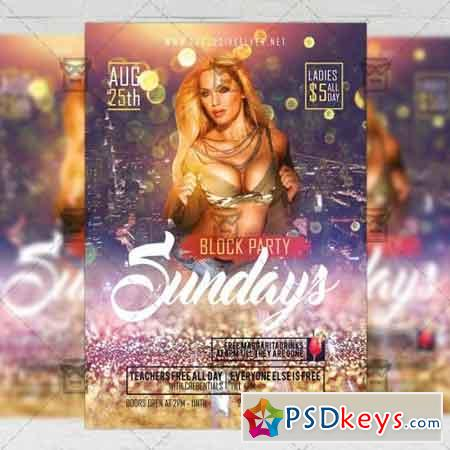 Sundays Block Party Flyer - Club A5 Template