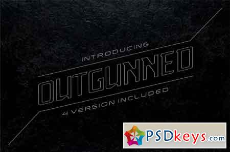 Outgunned display font in 4 versions 3503593