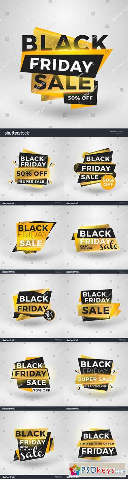 Black Friday sale stickers. Discount banners