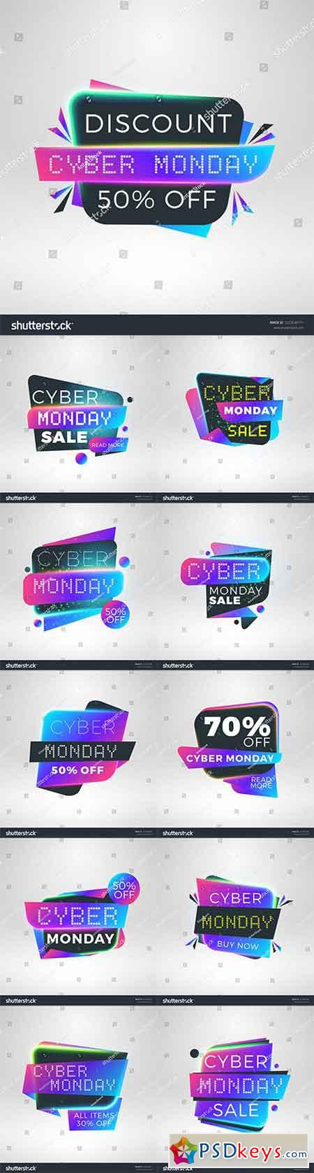 Cyber Monday sale stickers. Discount banners. Special offer sale tag