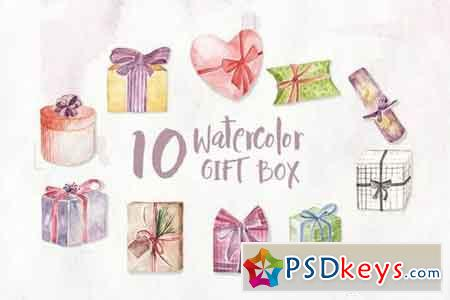 10 Watercolor Gift Box Illustration Graphics