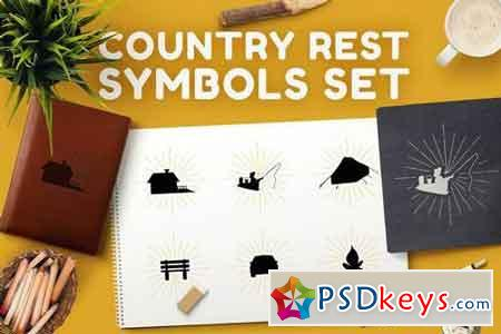 Country rest symbols set