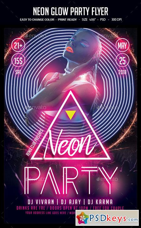 Neon Glow Party Flyer 22751389
