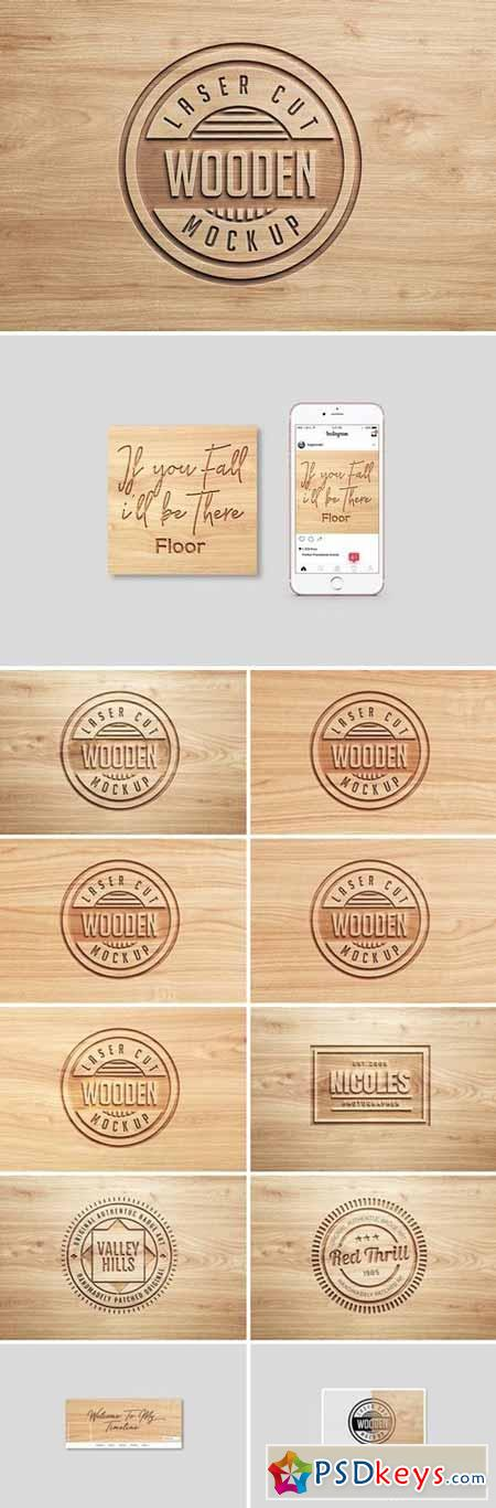 Logo Mock Ups Wood Set 1438552
