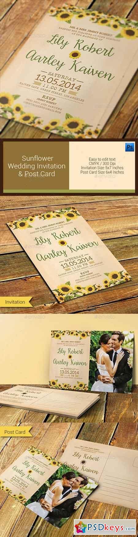 Sunflower Wedding Invitation & Post Card 11296659