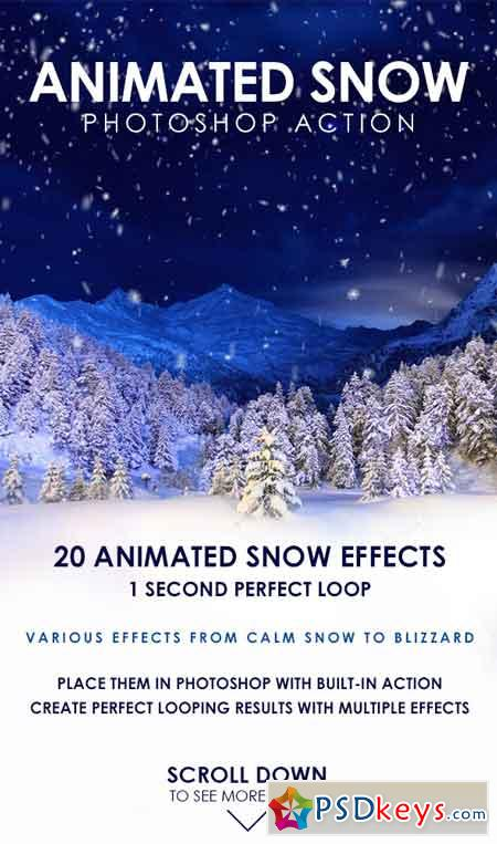 Animated Snow Photoshop Action 19429039