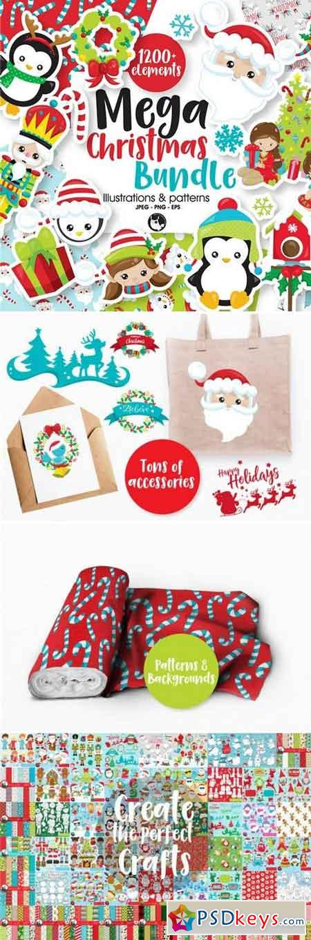 The Mega Christmas Bundle – 1200+ Graphics all in 1 cute bundle 939605