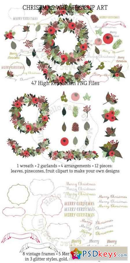 Christmas Wreath Clip Arts 323769