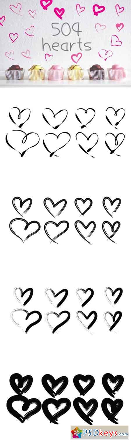 504 Hearts Hand Drawn for Love Graphic Elements