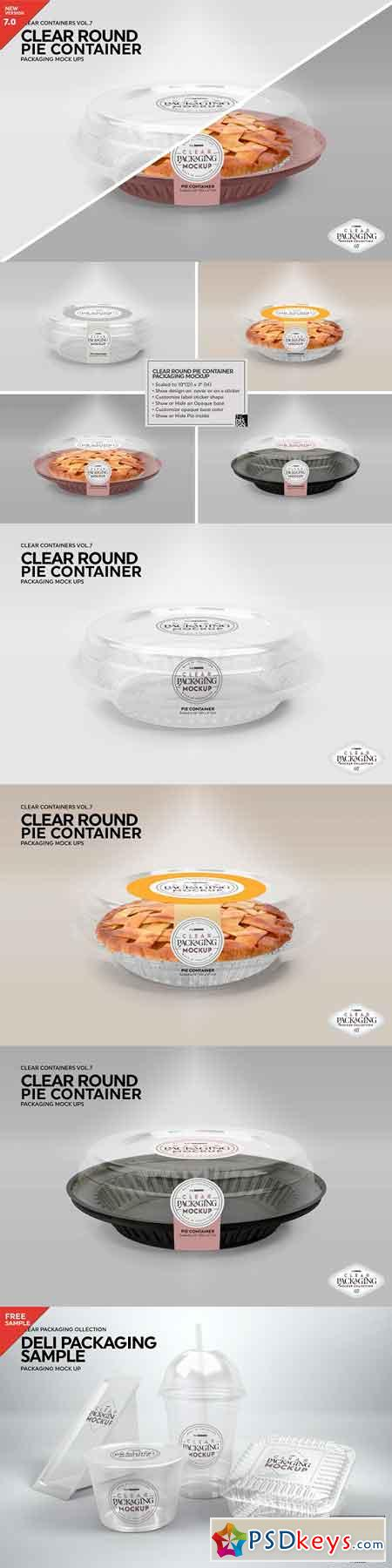 Clear Pie Container Packaging Mockup 3170139