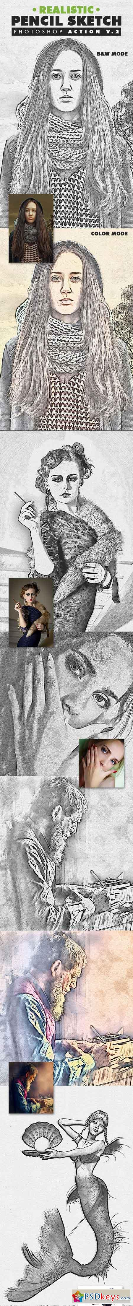 Realistic Pencil Sketch Photoshop Action Vol.2 19553148